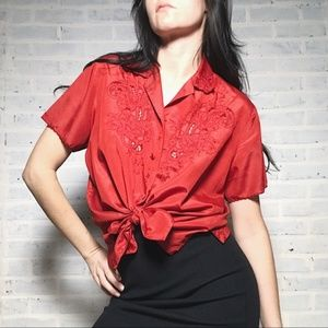 red vintage embroidered top